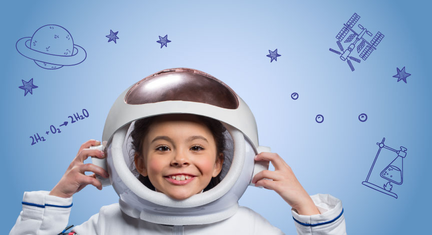 Girl in white space suit and an open helmet with navy blue strips on arms holding side of her head.